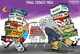 Political Cartoon U.S. Democrat GOP Trump Biden debate prep