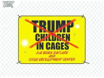 Political Cartoon U.S. biden trump child migrants