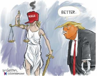 Political Cartoon U.S. MAGA hat blindfolded Lady Justice Trump
