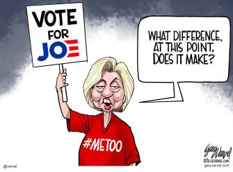 Political Cartoon U.S. Hillary Clinton Joe Biden endorsement metoo