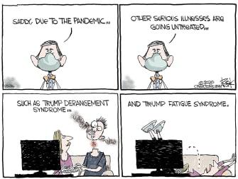 Political Cartoon U.S. Trump COVID derangement fatigue