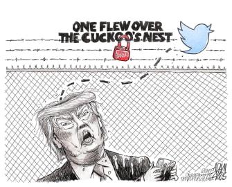 Political Cartoon U.S. Trump Twitter ban one flew over the cuckoos nest