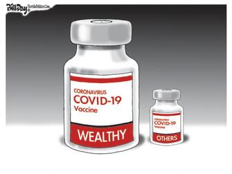 Editorial Cartoon U.S. rich poor covid vaccine