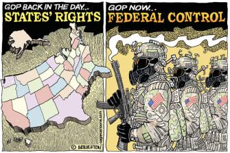 Political Cartoon U.S. GOP republican states rights federal agents