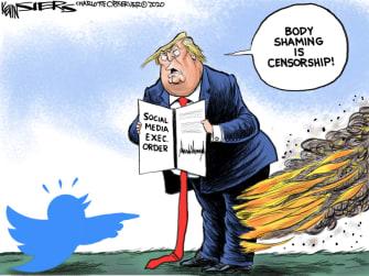 Political cartoon U.S. Trump twitter executive order