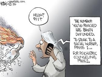 Editorial Cartoon U.S. defund police 911