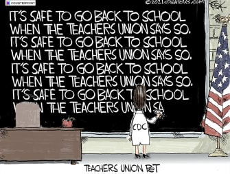 Editorial Cartoon U.S. cdc teachers unions covid