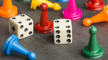 Game pieces and dice.