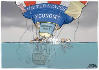 Political Cartoon U.S. COVID relief congress economy
