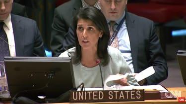 Ambassador Nikki Haley addresses the U.N. Security Council