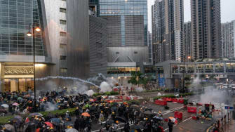 Hong Kong protesters clash with police.