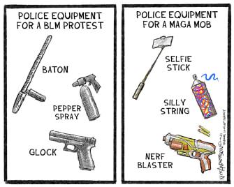 Political Cartoon U.S. Trump Capitol riot police