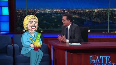Stephen Colbert grills Cartoon Hillary Clinton about pneumonia
