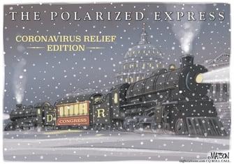 Political Cartoon U.S. Congress Polar Express COVID relief
