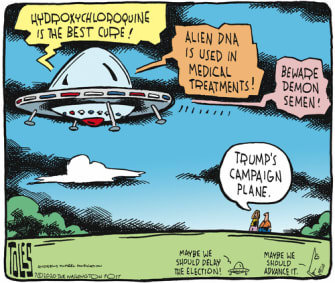 Political Cartoon U.S. Trump campaign 2020