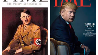 People have noticed Donald Trump posed similarly to Adolf Hitler for his TIME cover.
