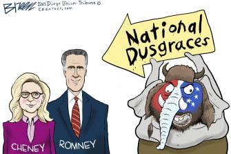 Political Cartoon U.S. liz cheney mitt romney gop trump