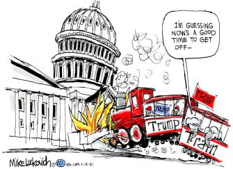 Political Cartoon U.S. Trump train capitol riot GOP