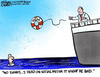 Editorial Cartoon U.S. covid vaccine skeptics