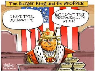 Political Cartoon U.S. Trump coronavirus total authority