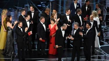 Jordan Horowitz, La La Land's producer, holds the Oscar for Best Picture