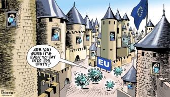 Political Cartoon World EU efforts fail economy struggles coronavirus outbreak