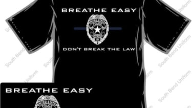 Indiana policeman sparks outrage with 'Breathe easy' shirts