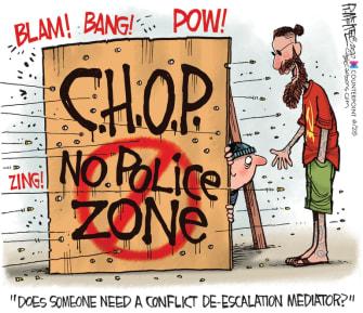 Editorial Cartoon U.S. Seattle CHOP no police