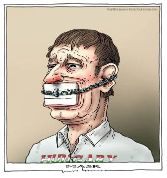 Political Cartoon World Hungary Viktor Orban Coronavirus mask stopper chains