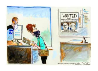 Political Cartoon U.S. DeJoy USPS wanted poster