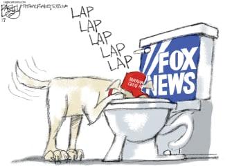 Political Cartoon U.S. Fox news toilet