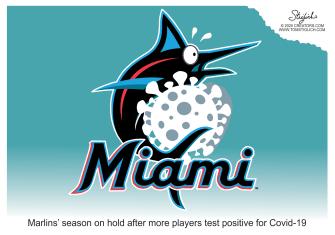 Editorial Cartoon U.S. Miami Marlins MLB coronavirus