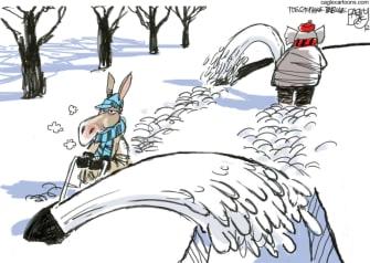 Political Cartoon U.S. Democrats GOP snow