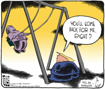 Political Cartoon U.S. Trump swing voters 2020