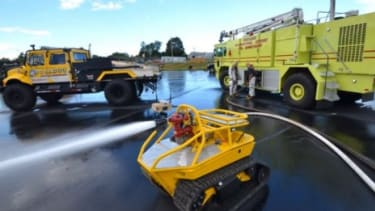 Thermite is a miniature tank capable of pumping out 500 gallons of water per minute to help fight fires.