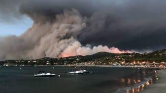 A wildfire on France's Mediterranean coast.