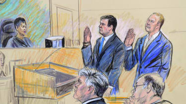 A court artist drawing of former Trump campaign chairman Paul Manafort and his business associate Rick Gates in federal court in Washington.
