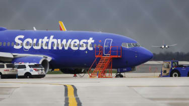 The Southwest Airlines plane that had to make an emergency landing in Philadelphia on Tuesday.