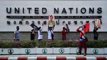 Myanmar migrants in Thailand protest against the military coup