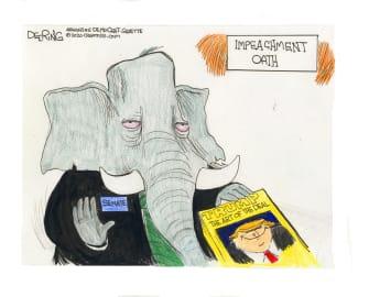 Political Cartoon U.S. Trump impeachment trial GOP oath art of the deal