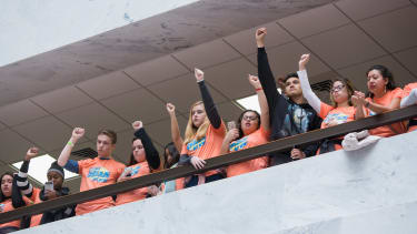Immigration activists rally for a clean Dream Act.