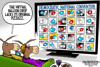 Political Cartoon U.S. virtual DNC