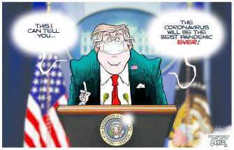 Political Cartoon U.S. Trump Coronavirus HHS CDC press briefing pandemic