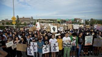 Protesters in Portland, Oregon.