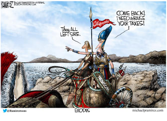 Political Cartoon U.S. California exodus Gavin Newsom taxes