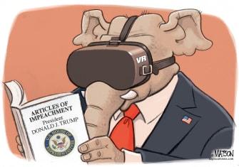 Political Cartoon U.S. GOP Virtual Reality Goggles Trump Impeachment