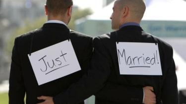 Husbands on their wedding day.