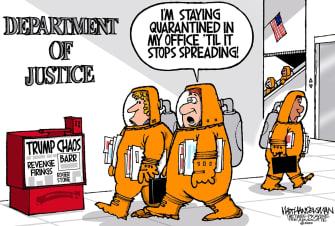 Political Cartoon U.S. Trump Coronavirus Roger Stone DOJ quarantine office