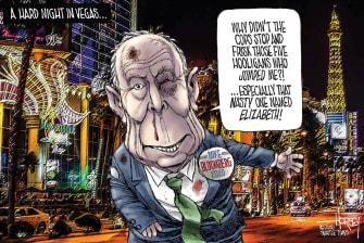 Political Cartoon U.S. Michael Bloomberg Elizabeth Warren Nevada democratic debates beatdown sexism racism