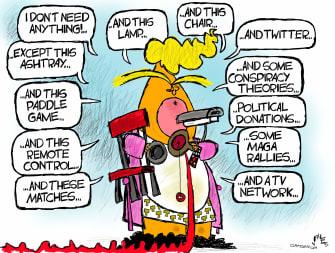 Political Cartoon U.S. Trump loss The Jerk Steve Martin